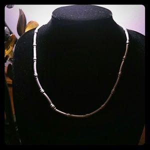 NWOT Matte SilverTone Tube Bead Necklace